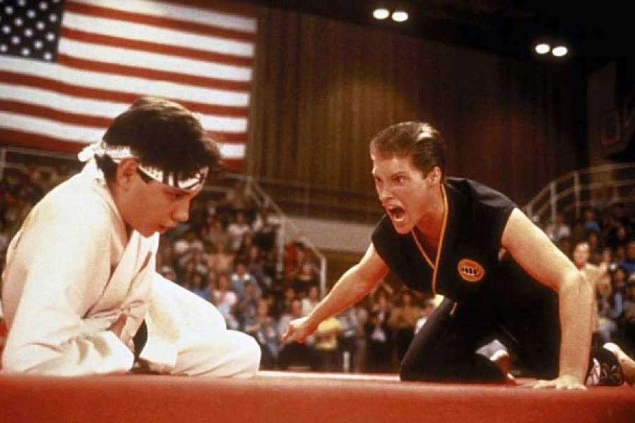 Ralph Macchio and Sean Kanan in Karate Kid